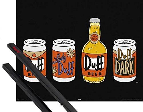 Poster + Sospensione : I Simpson Mini Poster (50x40 cm) 4 Duffs E Coppia Di Barre Porta Poster Nere 1art1®