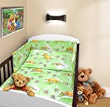 COT BUMPER 100 COTTON PADDED FOR BABY FIT COT 120x60 140x70 STRAIGHT 190cm to fit cot 140x70cm Teddy Honey Green