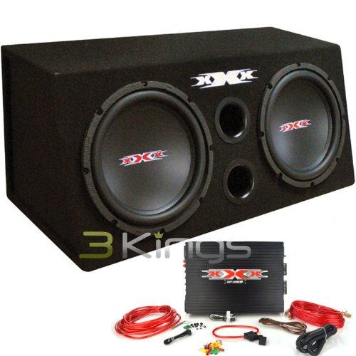Audiopipe Xbx1200B Xxx Bass Pkg.Dual 12 W/Amp + Amp Kit. 1200 Watts. Black Woofers