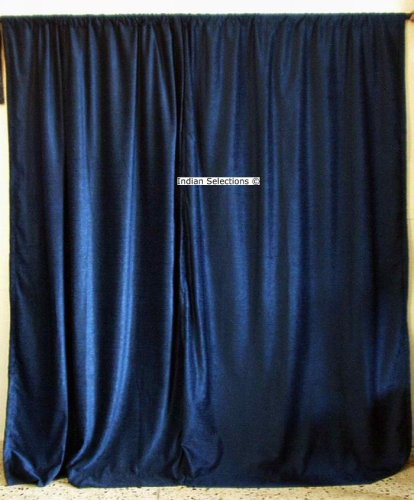 Navy Blue Velvet Curtains / Drapes / Panels Curtain Length: 76 Inches