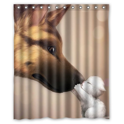 Custom Unique Design Animal Puppy Waterproof Fabric Shower Curtain, 72 By 60-Inch front-430967