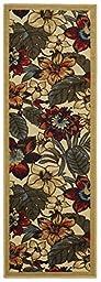 Rubber Back Ivory Multicolor Floral Garden Non-Slip (Non-Skid) Runner Rug 22\