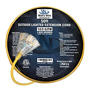 50 ft 12 Gauge Heavy Duty Indoor Outdoor SJTW Lighted Triple Outlet Extension Cord by Watts Wire - Yellow 50 foot 12 AWG Copper Lighted Multi Outlet Grounded 12/3 Extension Cord
