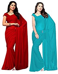 PARISHA Georgette Dyed Women's Saree Combo DYD1001-1010 (Red & Sky Blue)