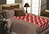 Maissen Belladonna Abstract Polycotton Double Bedsheet with 2 Pillow Covers - Dark Brown