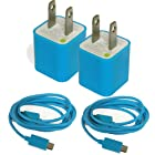 WirelessPug 4 pack Blue USB 2.0 Cable & Wall Charger W/ 3 Data Sync Cable 3FT A to Micro B For Samsung Galaxy S HTC