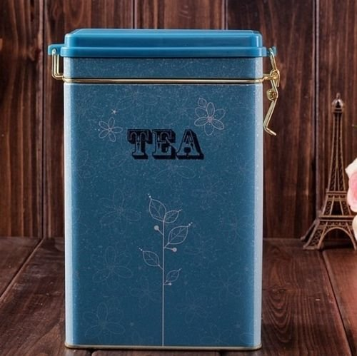 Decorations Jar with Lid Retro Large Sky Blue Tea Kitchen Coffee Tea Sealed Container Jar Tin Metal Decoration Home Decor 21.5cm X 12cm X 7.6cm 2