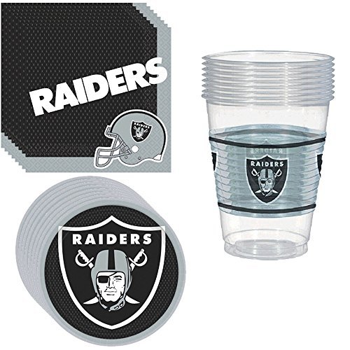 Oakland Raiders Party Pack Including Plates, Cups and Napkins - 8 Guests
