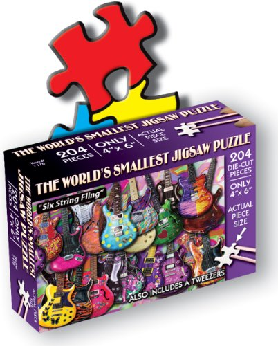 TDC Games 204-Piece Jigsaw Puzzle, 4 by 6-Inch, Six String Fling - 1