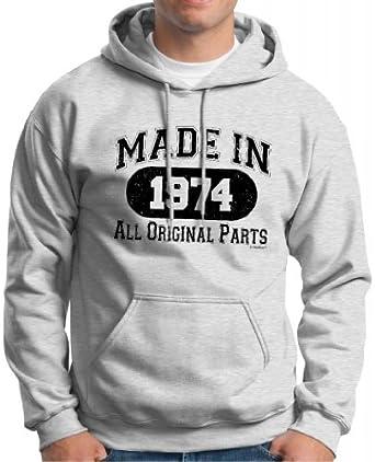 Made in 1974 40th Birthday Hoodie Sweatshirt Small Ash