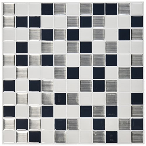 "RoomMates Black & White Mosaic StickTILES, 4-pack 10.5"" X 10.5"""