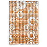 "Popular Modern Cool Lovely Cute White Diamonds Circle Orange Background New Waterproof Polyester Fabric Shower Curtain (48""x72"") Lovely Bathroom Decoration"