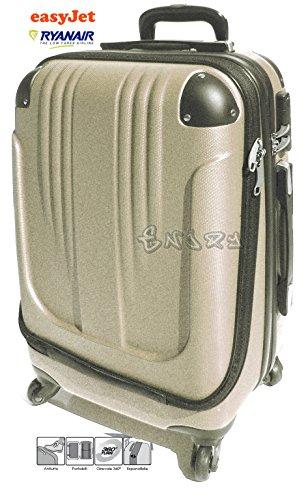 Bagaglio a mano trolley voli low cost in abs rigido 4 ruote - asta estensibile - apertura separata porta tablet/notebook -loco by crazy shoes (champagne)