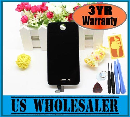 Imagen de Apple Iphone 4 4G (AT & T) Cristal Negro digitalizador de la pantalla de reemplazo con el marco de la Asamblea + LCD + 6 Piece Tool Kit