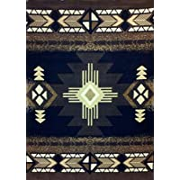 South West Native American Area Rug 5 Ft. X 7 Ft. Black Design # C318