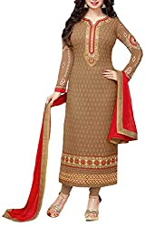 Binny Creation Women's Faux Georgette Unstitched Dress Material (Brown)