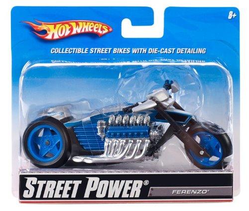 Imagen principal de Mattel R1089 Hot Wheels Street Power Rollin Ferenzo - Moto en miniatura (escala 1:18), color gris y azul