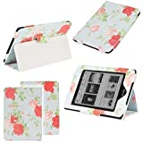 Neotechs® Vintage Blue Flower Luxury Leather Smart Case Cover Wallet for Amazon Kindle Touch & Paperwhite 5