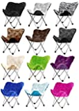 Butterfly Folding Chair in Faux Fur or Vegan Leather. Portable for Sports, Adults & Childrens Rooms, Tailgate Parties, even Camping - Lightweight Durable Steel Frame - the Most Affordable Furniture for Every Home, Office, Patio, Dorm. 100% Satisfaction Guaranteed - Order with Confidence.