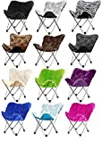Butterfly Folding Chair in Faux Fur or Vegan Leather. Portable for Sports, Adults & Childrens Rooms, Tailgate Parties, even Camping - Lightweight Durable Steel Frame - the Most Affordable Furniture for Every Home, Office, Patio, Dorm. 100% Satisfaction Gu