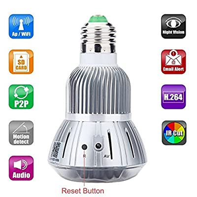 LeeKooLuu 1280x960P Wifi Network Hidden Camera Mirror Bulb Motion Activated Security Camcorder DVR for Android iPhone APP Remote View