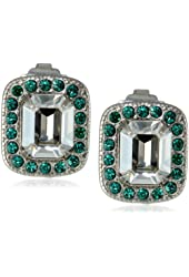 "Sorrelli ""Viridescence"" Emerald Crystal Encrusted Silver-Tone Post Stud Earrings"