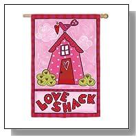 Love Shack Pink and Red Valentine Outdoor Garden Flag 43