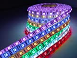 16.4ft 5m Waterproof Flexible 300leds Color Changing RGB Smd5050 LED Light Strip Kit Color RGB Without 44key Remote 12v Power Supply Ideal for Gardens, Homes, Kitchen, Under Cabinet, Aquariums, Cars, Bar, DIY Party Decoration Lighting - Mood Light