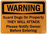 """SmartSign Aluminum Sign, Legend """"Warning: Guard Dogs on Property They will Attack"""", 10"""" high x 14"""" wide, Black on Orange"""