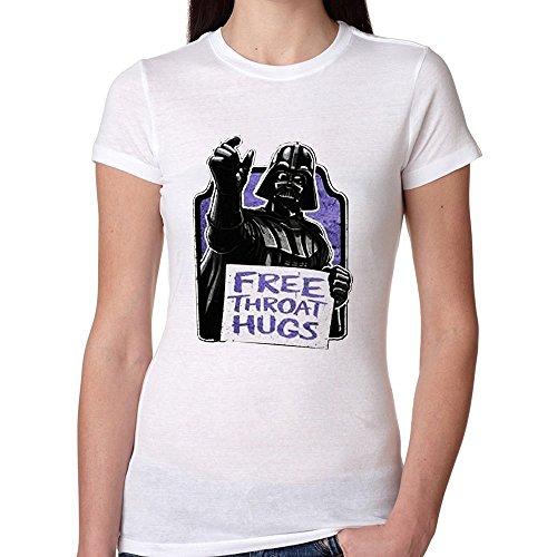 Norlma Star Wars Darth Vader Free Throat Hugs for women T shirt Medium White