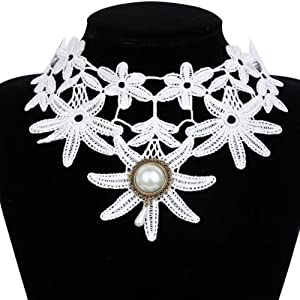 Yazilind Jewelry White Lace Collar Necklace Lolita Gothic Flower Jewelry Sexy Noble for Women