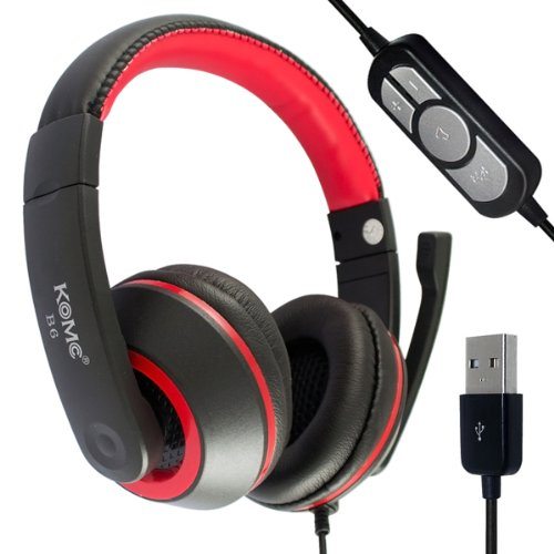 High-Fidelity B6-Usb Red Comfortable Stereo Audio Headset + Microphone + Volume Control + Mute Control For Pc/Laptop Game/ Chatting/ Music