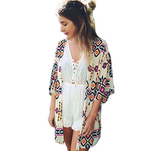 Tongshi Women's Geometry Printed Chiffon Shawl Kimono Cardigan Tops (L)