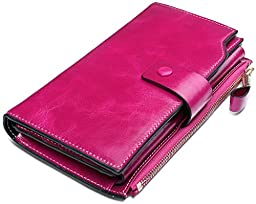 YALUXE Women\'s Large Capacity Luxury Wax Genuine Leather Wallet With Zipper Pocket Pink