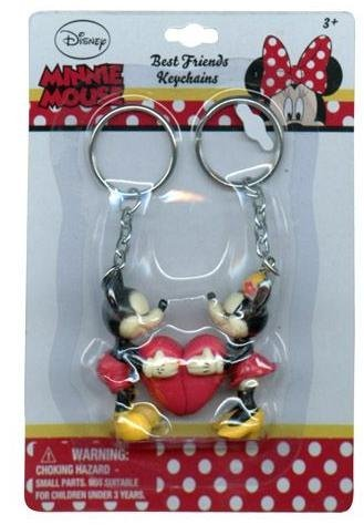 Mickey and Minnie Mouse Connecting Heart Keychain