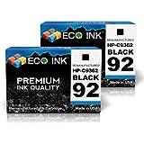 ECO INK © Compatible / Remanufactured for HP 92 C9362WN (2 Black) Ink Cartridges for HP PhotoSmart C3100, C3140, C3180, 7838, C3110, C3150, 7800, 7850, C3125, C3170, 7830 HP Deskjet 5420, 5438, 5440v, 5442, 5420v, 5440, 5440xi, 5443 HP OfficeJet 6300, 6305, 6310v, 6315, 6301, 6310, 6310xi, 6318 HP PSC 1500, 1507, 1510, 1513, 1503, 1508, 1510v, 1513s, 1504, 1509, 1510xi, 1514, 1506
