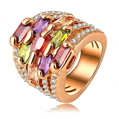 Smile_Jewelry Ring 18K Gold Plating Gorgeous Multi-Layer Engagement Rings Pave Austrian Crystals Charm Jewelry 10.0