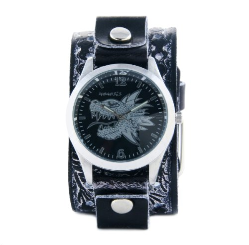 Nemesis Men's SSN903K Punk Rock Collection Vintage Black Dragon Leather Cuff Band Watch