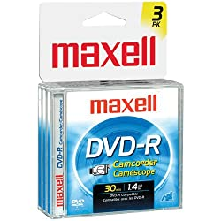 MAXELL 567622 - DVDRCJC3PK CAMCORDER DVD-RS WITH JEWEL CASES (3 PK)