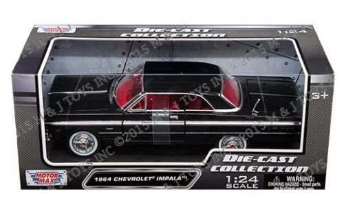 new-124-w-b-american-classics-collection-black-1964-chevrolet-impala-hardtop-diecast-model-car-by-mo