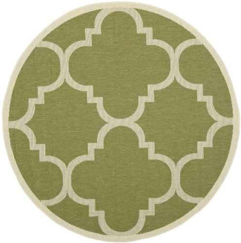 Safavieh CY6243-244 Courtyard Collection Indoor/Outdoor Round Area Rug, 6-Feet 7-Inch, Green and Beige
