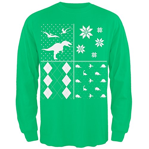 Dinosaurs Festive Blocks Ugly Christmas Sweater Green Adult Long Sleeve T-Shirt - 2X-Large
