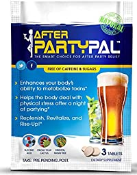 AfterPartyPal - Natural Hangover Relief & Hangover Prevention ● 3-PACK Hangover Pills Detox Kit ● Enhance your body\'s ability to metabolize toxins ● Replenish & Revitalize ●100% Money Back Guarantee!