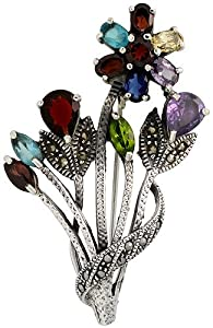 Sterling Silver Marcasite Flower Cluster Brooch Pin w/ Round, Pear, Oval & Marquise Cut Multi Color Stones, 2 1/4 in. (57mm) tall
