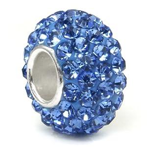 Swaroski Tanzanite Blue Crystal Ball Bead Sterling Silver Charm Fits Pandora Chamilia Biagi Trollbeads European Bracelet