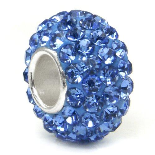 Swaroski Tanzanite Blue Crystal Ball Bead Sterling