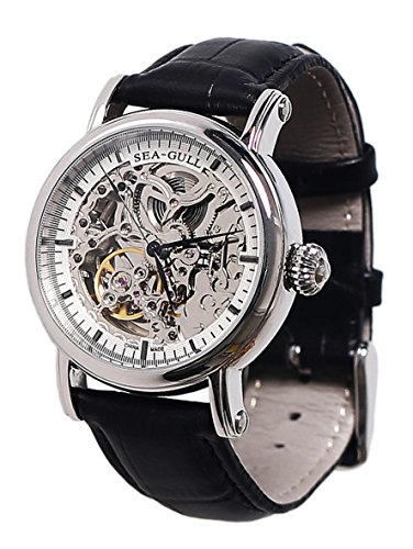 New Seagull M182Sk Automatic Mechanical Watch / Silver Skeleton Black Hands Black Strap