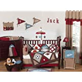 All Star Sports Red, Blue and Brown Baby Boy Bedding 9pc Crib Set