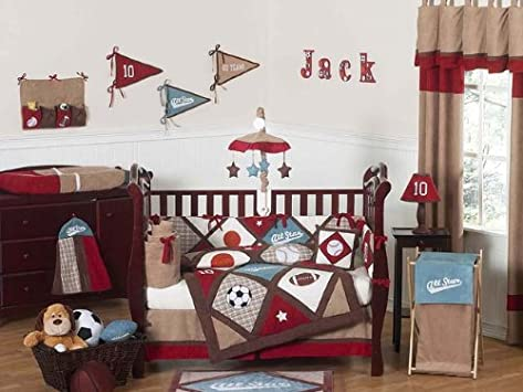 Stunning All Star Sports Red Blue and Brown Baby Boy Bedding pc Crib Set by Sweet