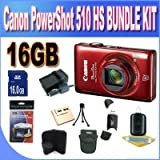 Canon PowerShot ELPH 510 HS 12.1 MP CMOS Digital Camera with Full HD Video and Ultra Wide Angle Lens (Red) +16GB SDHC Memory + Extended Life Battery + Charger + USB Card Reader + Shock Proof Case + Memory Card Wallet + Accessory Kit!